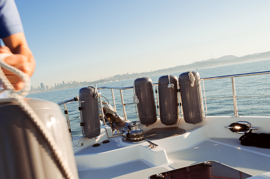 Boat fender holders and boat fenders in San Francisco Bay, Polyform TFR Series Fender Holders and HTM Series Fenders