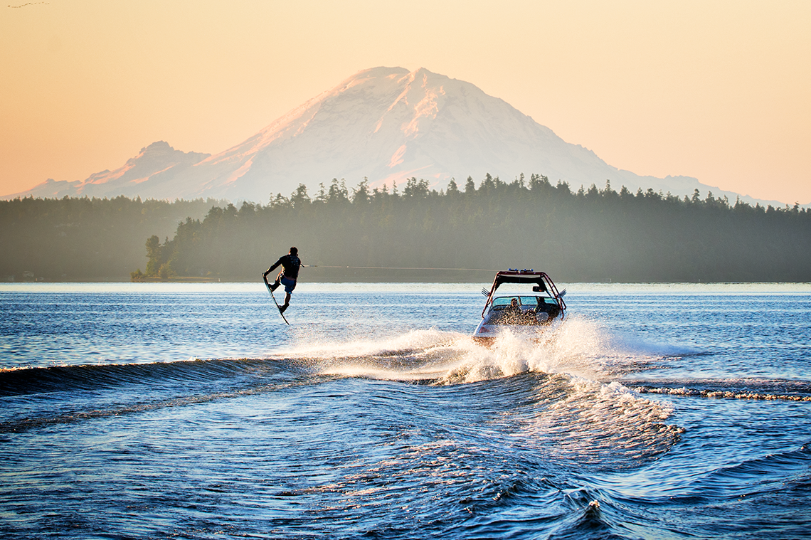 Wakeboarding near Mount Rainier, Washington State