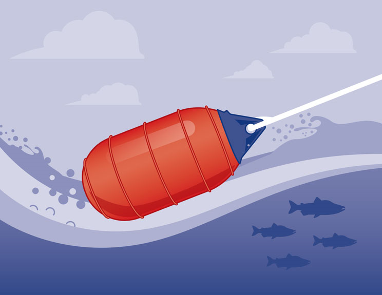 Low drag commercial fishing buoys, easy retevial design by Polyform